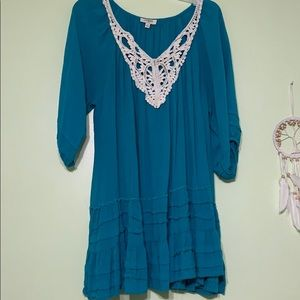 Blue Flowy Blouse with Ruffles